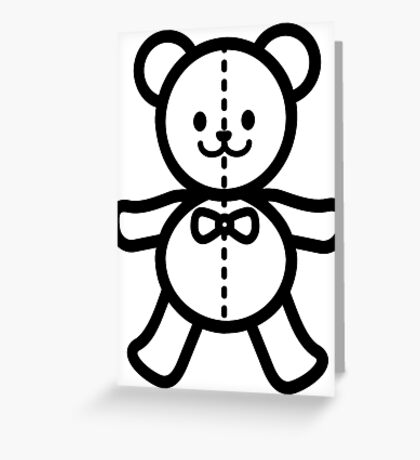 Teddy bear in black and white Greeting Card