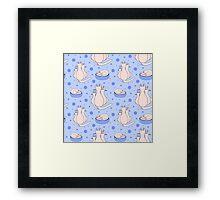 Cartoon cat family on the blue backdrop Framed Print