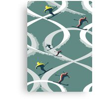 Mid Century Figure 8 Skiers in Retro Style on Teal Canvas Print