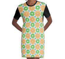 Ethnic green and orange mandalas Graphic T-Shirt Dress