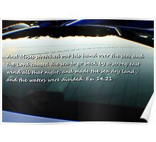 Car window reflection and Bible verse  Poster
