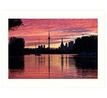 Fiery Sunset - Downtown Toronto Skyline with Sailboats Art Print