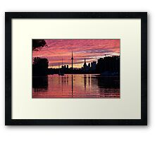 Fiery Sunset - Downtown Toronto Skyline with Sailboats Framed Print