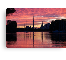 Fiery Sunset - Downtown Toronto Skyline with Sailboats Canvas Print