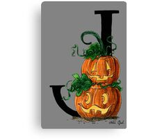 J for Jack-o-lantern Watercolor Painting Canvas Print