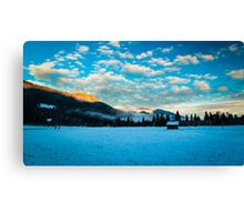 sunset after the first snowfall Canvas Print