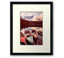 Autumn morning at the alpine lake Framed Print