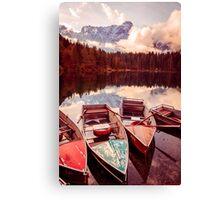 Autumn morning at the alpine lake Canvas Print