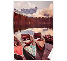 Autumn morning at the alpine lake Poster