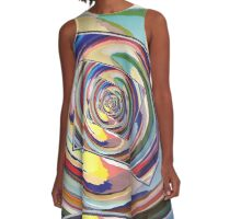 Spinning Colors Abstract A-Line Dress