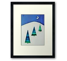 Three Trees Blue and Green Framed Print