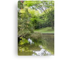lakescape reflection with flower Metal Print