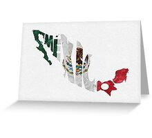 Mexico Typographic Map Flag Greeting Card