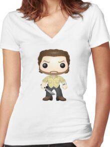 -POP- Rick Grimes Women's Fitted V-Neck T-Shirt