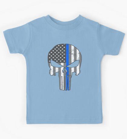 American Skull Thin Blue Line BW  Kids Tee