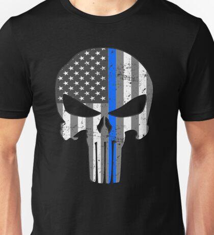 American Skull Thin Blue Line BW  Unisex T-Shirt