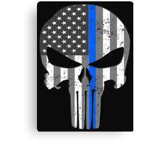 American Skull Thin Blue Line BW  Canvas Print