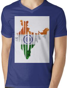 India Typographic Map Flag Mens V-Neck T-Shirt