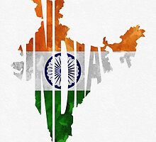 India Typographic Map Flag by A. TW
