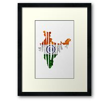 India Typographic Map Flag Framed Print