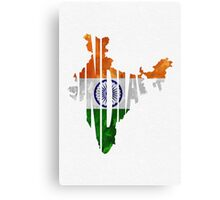 India Typographic Map Flag Canvas Print