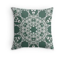 Abstract line design with arabesque ornament on green Throw Pillow