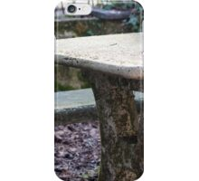table and stone bench in the woods iPhone Case/Skin
