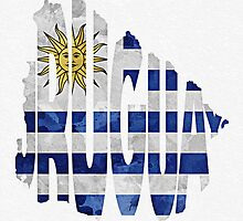 Uruguay Typographic Map Flag by A. TW