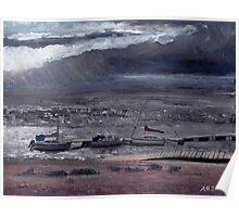 Burnham-on-Sea estuary - Storm Clouds. Poster