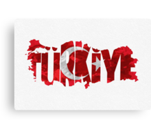 Turkey Typographic Map Flag Canvas Print