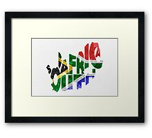 South Africa Typographic Map Flag Framed Print