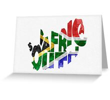 South Africa Typographic Map Flag Greeting Card
