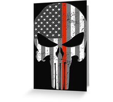 American Skull Thin Red Line BW  Greeting Card