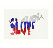 Slovenia Typographic Map Flag Art Print