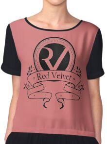 Red Velvet - Logo- Black Chiffon Top
