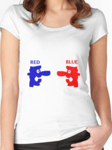 RED-BLUE Women's Fitted Scoop T-Shirt