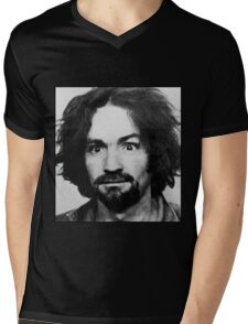 Charles Manson Mugshot Mens V-Neck T-Shirt