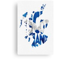 Scotland Typographic Map Flag Canvas Print
