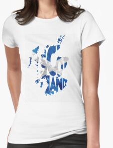 Scotland Typographic Map Flag Womens Fitted T-Shirt