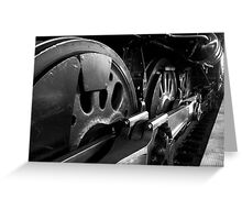 Steam Train Wheels in Black and White Greeting Card
