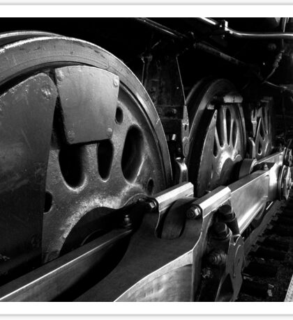 Steam Train Wheels in Black and White Sticker