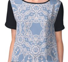 Abstract arabesque ornament in Rose Quartz and Serenity Blue Chiffon Top