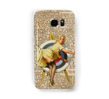 Pin Up Girl Archery Vintage Dictionary Art Samsung Galaxy Case/Skin