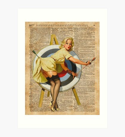 Pin Up Girl Archery Vintage Dictionary Art Art Print