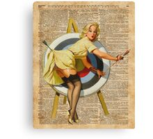 Pin Up Girl Archery Vintage Dictionary Art Canvas Print