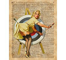 Pin Up Girl Archery Vintage Dictionary Art Photographic Print