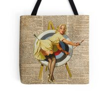 Pin Up Girl Archery Vintage Dictionary Art Tote Bag