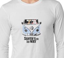 VW Camper Santa Father Christmas On Way Pale Blue Long Sleeve T-Shirt