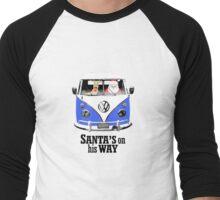 VW Camper Santa Father Christmas On Way Blue Men's Baseball ¾ T-Shirt