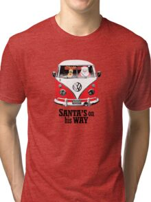 VW Camper Santa Father Christmas On Way Red Tri-blend T-Shirt